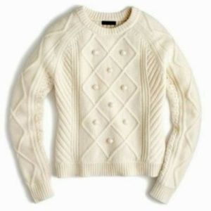 J.CREW Pom Pom Crewneck Wool Sweater Medium 8 10